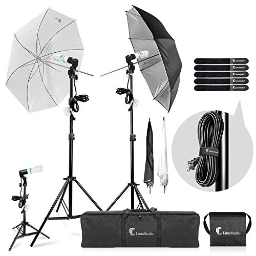 LimoStudio Photography Video Portrait Studio Daylight Umbrella Continuous Lighting Kit with Energy Saving Bulb, Velcro cable ties, Photo Studio, AGG2332