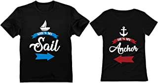 She's My Sail He's My Anchor Matching Couples T-Shirts