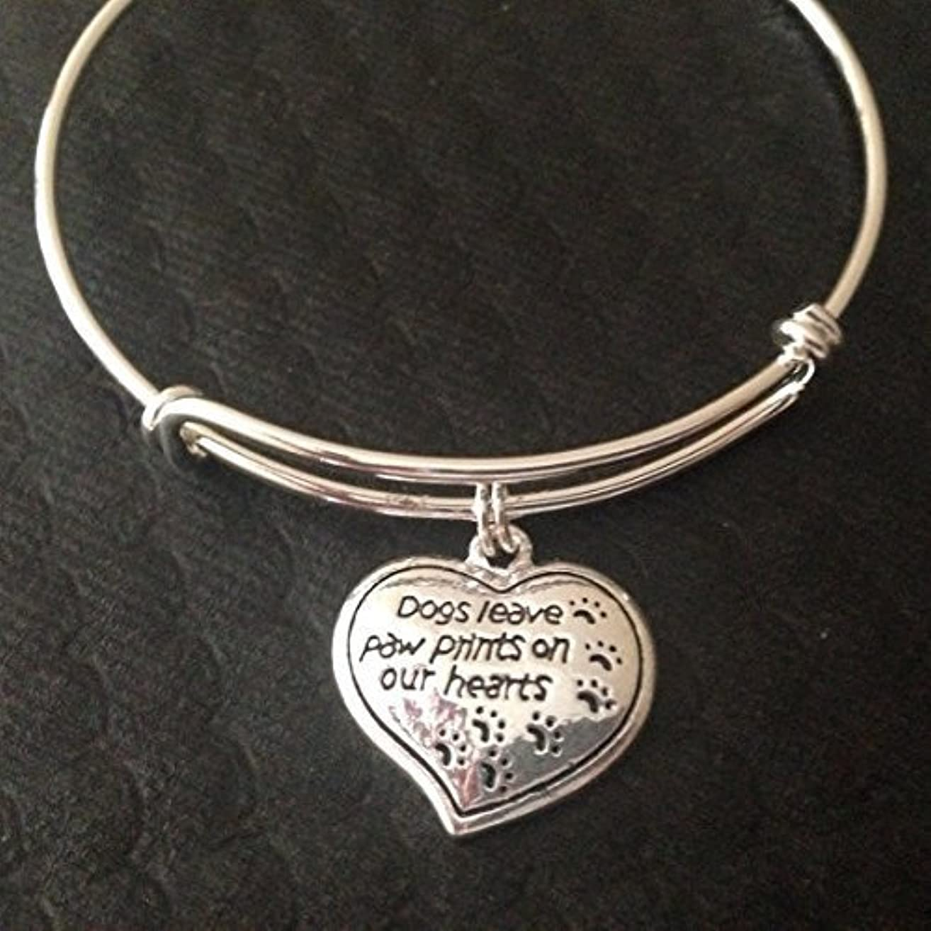 Dogs Leave Paw Prints on our Heart Charm on a Silver Expandable Adjustable Wire Bangle