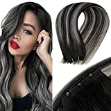 Micro Beaded Weft Extensions Silver LaaVoo Micro Loop Weft Human Hair Extensions Black Easy Weft Balayage Off Black Ombre Silver Mirco Weft Silver Extensions Straight 12' Width 50g 16'