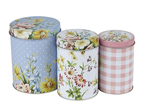 Set of 3 Katie Alice English Garden Shabby Chic Nested Kitchen Storage TINS