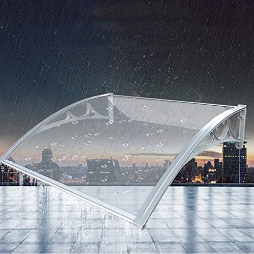 WAKTN-Deur luifel Voorportiek Shelter Awning Terras Zonnescherm UV-bestendig, Aluminium Beugel Dakbedekking Transparant PC Board Geschikt voor Huis Gevel (60 × 100cm)