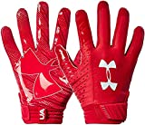 Under Armour Men`s Spotlight NFL Football Gloves (Red(1326218-600)/White, Medium)