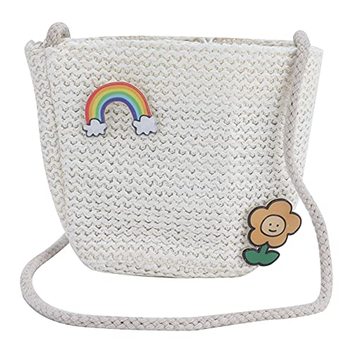 Bolso bandolera, bolso de ratán tejido a mano de paja para mujer, crochet para hacer compras, viajar, para fiestas(rainbow)