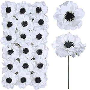 18 Sets Artificial Poppy Anemone Flowers Picks Bulk White Poppy Anemone Stems Silk Anemone Flower Heads with Wired Stems 4″ Wide for Floral Arrangement Wedding Bouquets Boutonnieres Floral Crafts