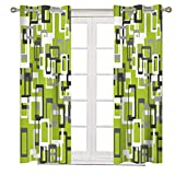 2 Panels Blackout Window Curtain Panels, Heat and Full Light Blocking Drapes ,Lime Green Black Gray White Geometric Grommet Thermal Insulated Draperies for Bedroom/Kitchen 53 inches