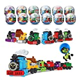 12 Pcs Prefilled Easter Basket Gifts Easter Eggs with Train Building Set Block Bulk Toy for Kids Girls Boys Plastic Egg Stuffers, Easter Egg Hunt, Party Favor Supplies Age 4 5 6 7 8 9 Year Old
