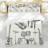 BEDNRY Collection d'instruments de Musique Jazz Art de Croquis de Style avec Trompette et Guitare Piano Housse de Couette 220x240cm 2 taie d'oreiller 50x75cm