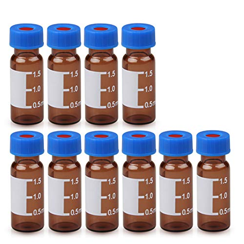 Autosampler Vial, 2ml HPLC Vial with Caps, 9-425 Amber Vial with Blue Screw Caps,Writing Patch,Graduation,White PTFE & Red Silicone Septa Fit for LC Sampler(100pcs,Brown)