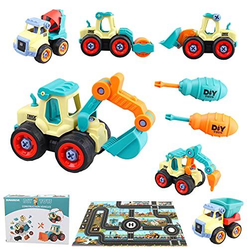 Sunarrive Camion Engins de Chantier (Démonte et Remonte) et Tapis de Jeux - Tracteur Jouet - Voiture de Jeux de Construction - Cadeau pour Enfant Garcon Fille 3 4 5 6 Ans