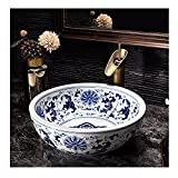 Lavabo Sobre Encimera Redondo Cerámica, Pintado A Mano Lavamanos Pequeno Porcelana Azul Y Blanca, Pica Baño Arte Creativo Retro 40X40X15cm Decoración Del Hogar(Size:Combo de lavabo + grifo y desagüe)
