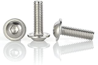 M6-1.0 x 30mm Flanged Button Head Socket Cap Screws, Stainless Steel 304, Full Thread, Allen Socket Drive, 50 PCS