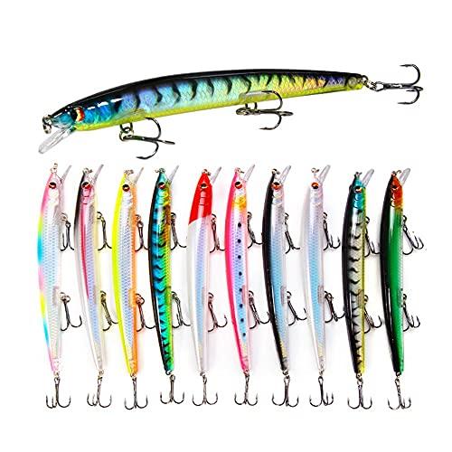 Señuelos de Pesca Pack de Pesca Catching/Spinning – Señuelos Duros Flotantes Artificiales – Cebos Lucio/Black Bass/lubina – Pesca pantano y mar – 13 cm y 15 Gramos