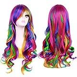 BERON Stylish Long Wavy Rainbow Wig Curly...