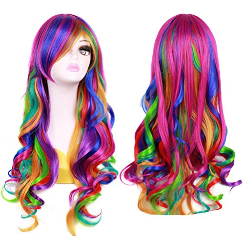 """BERON 27"""" Long Wavy Rainbow Wig for Halloween Cosplay"""