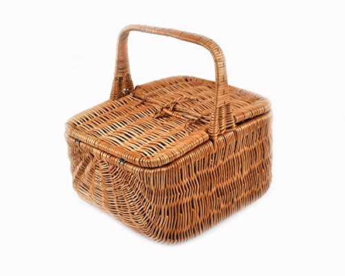 PM24 Sehr schöner Rattankorb Weidenkorb Einkaufskorb Picknickkorb mit 2 Deckeln K1-028 Korb