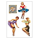E31 Retro-Aufkleber 50er-Jahre, Pin-up-Girls, A4-Bogen