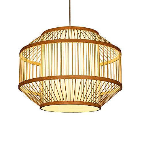 wangch Lámpara colgante de linterna de bambú de estilo japonés, pantalla de bambú tejida a mano, candelabros de mimbre de ratán natural, lámparas de decoración de iluminación E27, adecuado para sala d