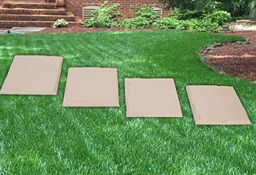 Mind Reader Stones, Decorative Walkway for Outdoor Garden Landscaping, Yard Pathway Kit with 2-Inch Grass Stakes, Pack of 4