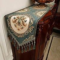 QL シェニール テーブルランナー 現代のラグジュアリーマルチタッセル多目的ルームのベッドルームの家の装飾を持つテーブルランナージャガード花ドレッサースカーフ、6色 (Color : F, Size : 35*260cm)