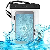"""kwmobile Custodia Impermeabile per Tablet Borsa da Spiaggia - Beach Bag Busta Tablet 7-8"""" Protezione Acqua Sabbia - Astuccio Waterproof 20,5 x 15 cm - Nero/Trasparente"""