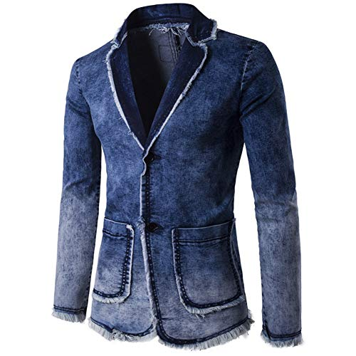 Real Spark Mens Classic Notched Collar 3 Button Washed Denim Blazer Jeans Suit Jacket Denimblue M