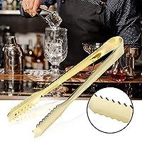 BBQトング、シュガークリップトング、304ステンレス鋼サラダBBQトングアイスクリップ、バーベーカリーカフェ用ビスケットクリップトング(Gilded)