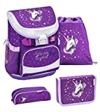 Belmil ergonomischer Schulranzen Set 4 -teilig für Mädchen 1, 2 Klasse Grundschule/Super Leicht 750-800 g/Brustgurt/Einhorn, Unicorn/Lila, Purple (405-33 You Are Magical)