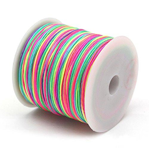 Limeo filo elastico 90 m, con perle, tessuto intrecciato, color arcobaleno