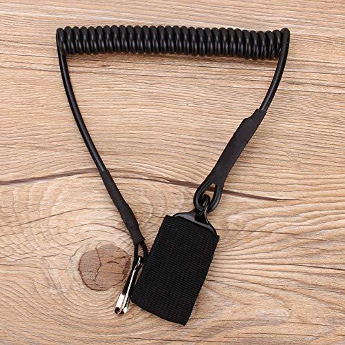 Tactical Lanyard Sling, Airsoft Pistol Metal Hook Line Estructura telescópica Portador de botella de agua hecho de metal (negro, caqui)