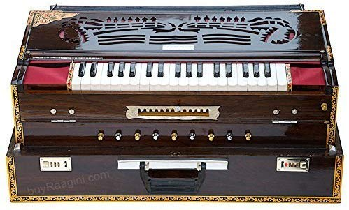 Harmonium, Musicals, Scale Changer, In USA, Folding, 13 Scales, 4 Reeds, Dark Color, Tuned To A440, Teak Wood, Padded Bag, Book, Musical Instrument Calcutta India (PDI-BDF)