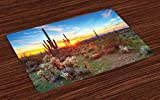 Lunarable Saguaro Place Mats Set of 4, Sun is Setting Between Saguaros Wildflowers in The Sonoran Desert Scene Picture, Washable Fabric Placemats for Dining Room Kitchen Table Decor, Orange Olive