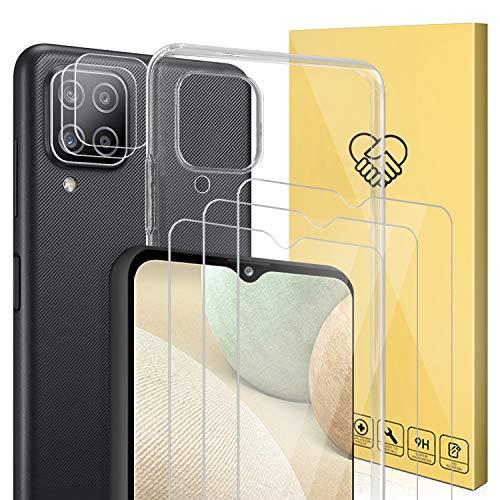(6 Pack)-Compatible con protector Samsung Galaxy A12 5G,ANEWSIR cristal templado,3*Protector de Pantalla y 2*Protector de Lente de cámara y 1*Funda