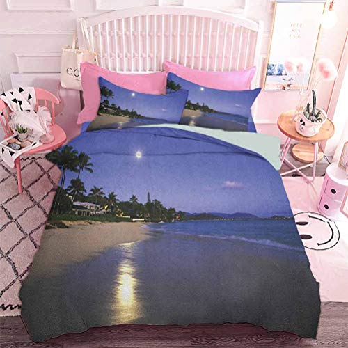 Home Textiles Bedding Set Bedclothes Houses Clear Sky Full Moon Reflection at Daybreak on a Hawaii Beach Exotic Life (3pcs, King Size) Duvet Cover Set