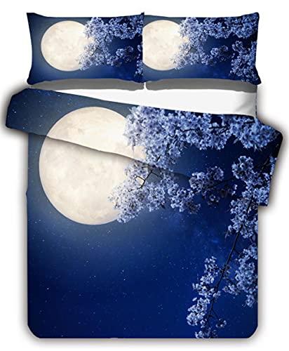 Juego de funda de edredón con cierre de cremallera, 200 x 200 cm, 3 piezas incluye 2 fundas de almohada de 50 x 75 cm, estampado en 3D, suave, hipoalergénico, juego de cama de microfibra para el hogar