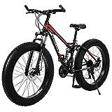 GMSWCG Fat Tire Mountain Bike 26 Inch Wheels Adult Bicycle, 21 Speeds Sand Trek Bike, Double Disc Brake Suspension Fork Big Tire Anti-Slip Bikes, Black