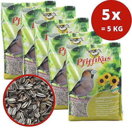 Pfiffikus 5-pack zonnebloempitten gestreept voor wilde vogels 5 x 1 kg - vogelvoer hele jaar door winter en zomer - vogelvoer om te strooien of voor vogelvoederhuis, voederstation - Made in Germany