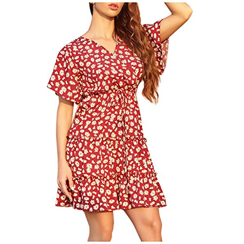 AFFGEQA Damen Blumenkleid High Waist Sommerkleid V-Ausschnitt Kurzarm Rüsche Kleider Lose Beiläufig Wellendruck Minikleid Tunikakleid Strandkleid