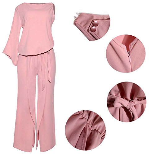 Women's Sexy Plus Size Pantsuit Cotton Sleeveless Long Sleeve Jumpsuit Rompers Pink Party
