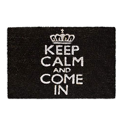 Relaxdays Keep Calm Zerbino per Ingresso, Nero, 60 x 40 cm