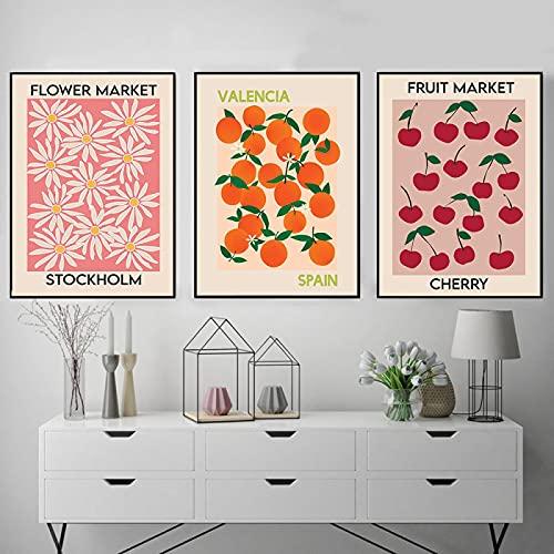 Affisch och tryck fruktmarknad körsbär orange vintage blomma marknad Stockholm väggkonst målning tryck köksdekor (50 x 70 cm/19,7 x 27,6 tum) x 7 ingen ram