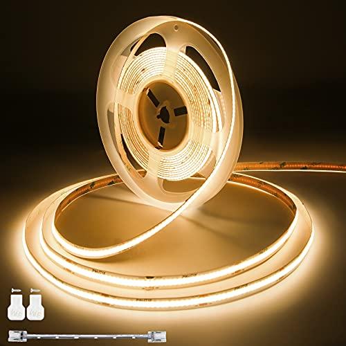 COB LED Streifen Warmweiss 3000K,PAUTIX 6m Flexibel CRI90+ LED Strip Lights,DC24V für Schlafzimmer Küche DIY Beleuchtungsprojekt mit 1 Stück Anschlusskabel (Netzteil nicht im Lieferumfang enthalten)
