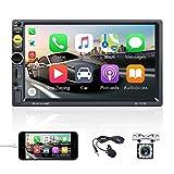 OiLiehu 7'' Double Din Bluetooth Car Radio HD MP5 Player Écran Tactile avec Prise en Charge D-Play FM/USB/TF/Microphone Externe/AUX-in/Lien Miroir pour Android iOS+Télécommande (sans Batterie)