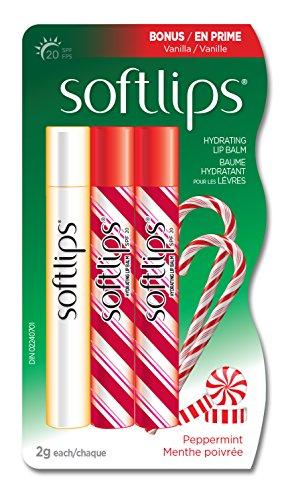 Softlips Peppermint Hydrating Lip Balm Bonus Pack, SPF20, Vitamin E, (2g x 3)