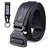 MOZETO - Cinturón táctico, Caja de Regalo, cinturón Militar de Nailon con Cierre de Velcro, Adecuado y Gancho para Llaves, de-ZSD02-Black-1G-165, Negro, 2XL 165cm