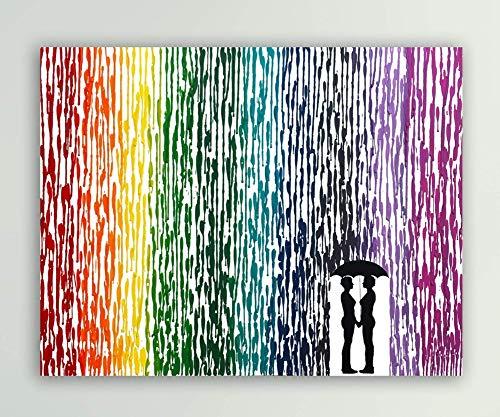 Anniversary Gift, Girl Couple Wedding Gift, Lesbian Art, Rainbow Wedding, Melted Crayon Art 16x20