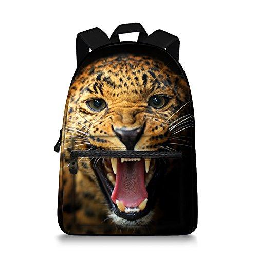 JeremySport 15.5 Inch Canvas 3D Animal Face Lepoard Back Pack for School