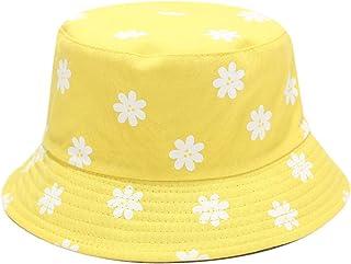PHILSP Unisex Cotton Bucket Hat Small Daisy Flower Print Reversible Beach Fisherman Cap Yellow