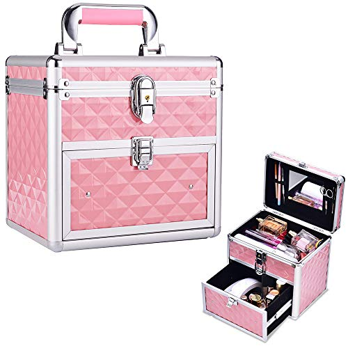 Hapilife メイクボックス 2段収納 鏡付き 化粧ボックス 化粧箱 コスメボックス ジュエリー収納 ネイル収納 引き出し メイク道具 化粧品収納 コスメ収納 収納ボックス 鍵付き (ピンク)
