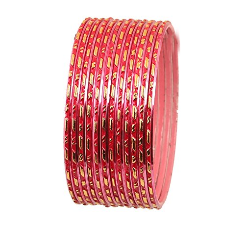 Touchstone 'Colorful Dozen Bangle Collection Traditional and Innovative Classy Pink Textured Color Golden Fringes Indian Bollywood Designer Jewelry Metal Bangle Bracelets for Women. Set of 12.